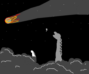 dinossaur sees the meteor coming
