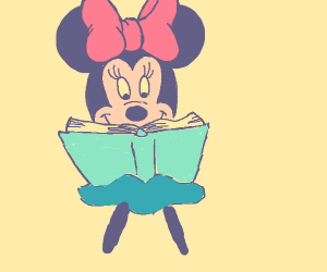 Minnie Mouse reads a book