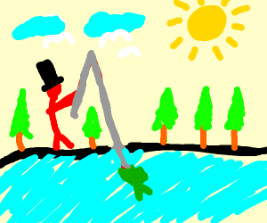 Fishing at a lake in the forest