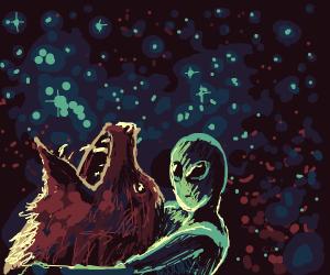 alien killing bear in space