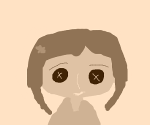 Coraline With Buttons For Eyes Drawception