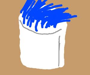 marshmellow with blue hair