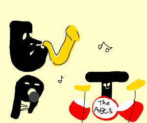alphabet letters playing instruments