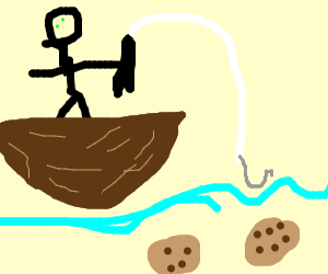man fishing for old cookies