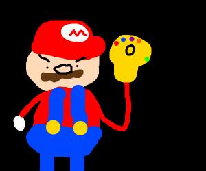 Mario has the Infinity gauntlet