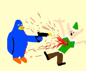 penguin from club penguin shoots elf