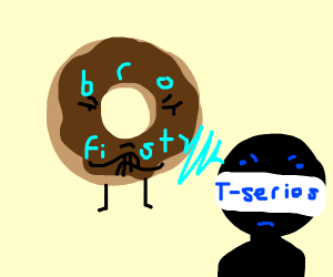 Pewdiepie donut staring at T series frowning