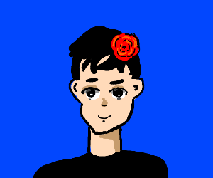 Anime boy with rose in his hair
