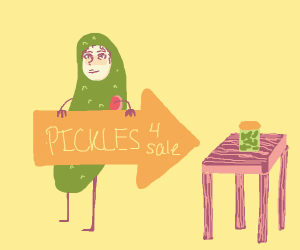 Pickle Costume selling a jar of pickles.