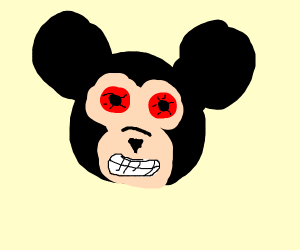 mickey mouse with red eyes