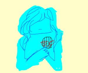 Blue girl has bird house in her heart