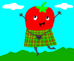 A Strawberry with a Kilt