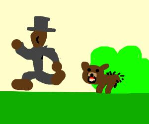 Black man runs from tiny bear