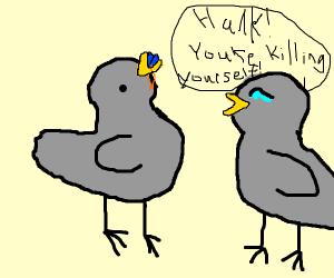 pigeon killing himelf by eating1.5V batteries