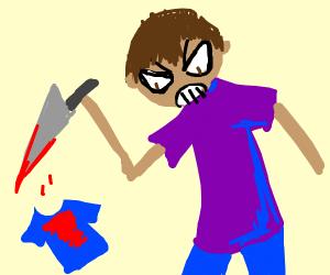 man kills shirt