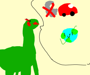 Dinosaur complaining about pollution