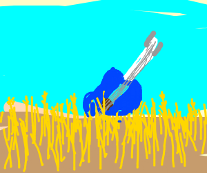 Blue Guitar in a Wheat Field