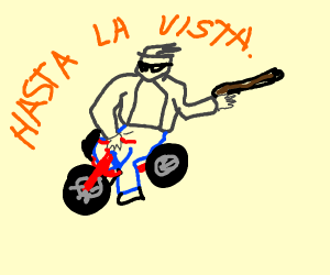 terminator riding on tricycle