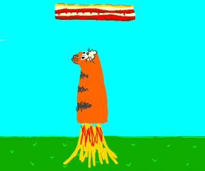 garfield rocket shoots towards sky lasagna