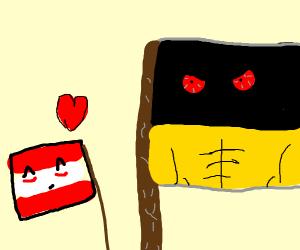 Tiny Austrian flag loves buff Austrian flag