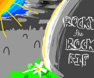 The peaceful grave of Rocky the rock