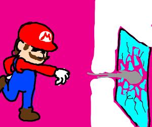 Mario smashes a window.