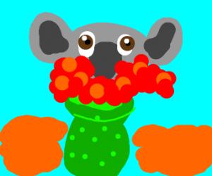 koala stuck in vase full of flowers