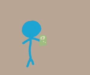 stickman playing gameboy