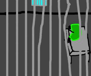 sad bean in jail