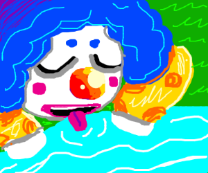 Clown licking water