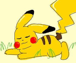 Pikachu laying in the grass