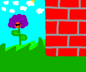 afro dude stuck in a plant