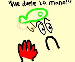 Green Mario burned-a his a-hand! :'(