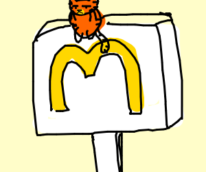 Garfield sits on top of a McDonalds sign