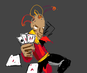 jester throwing cards