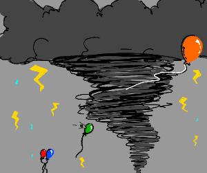 green balloon pops in a tornado