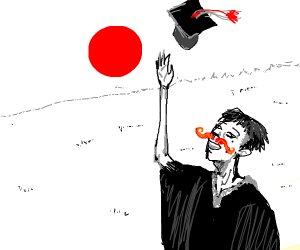 Graduating japanese man with big red mushache