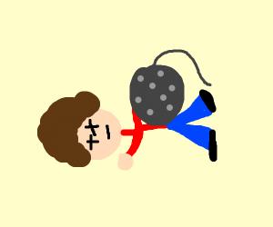 Disco ball falls on disco man