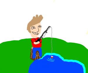 Jazza is fishing