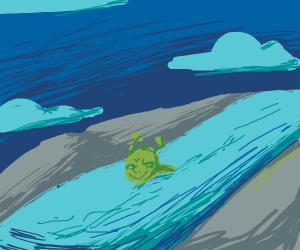 Shrek swimming in an infinite river