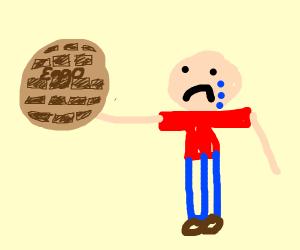 man cries because he has eggos