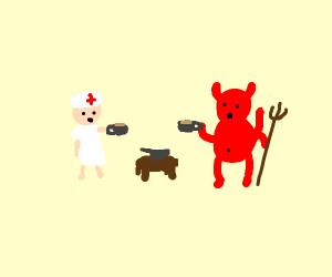 A nurse having a tea party with the devil