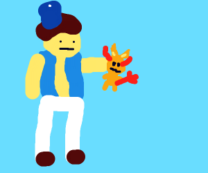 Aladdin holds a tiny yellow devil cat