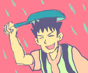 Brock with a pan on his head