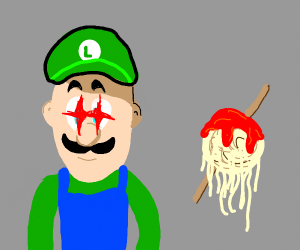 luigi (meme lazer eye thing) and spaghetti