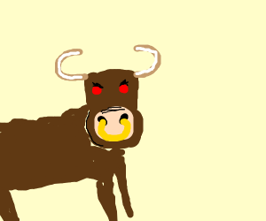 angry bull with nosering