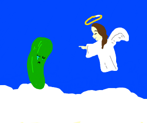 An angel is making fun of a cucumber