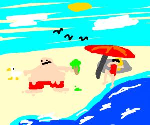 Man melts on beach