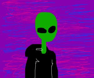 A weird green alien with a purple background