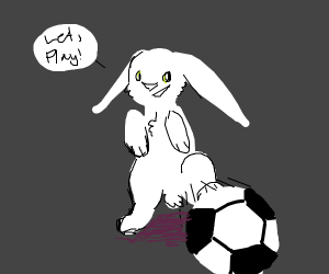 a bunny wants to play soccer with you